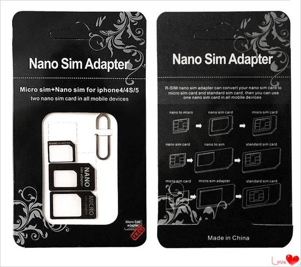 DHL frete grátis Nano SIM Card para Micro SIM Card Padrão Adapter Converter Eject Pin Set 4 em 1 Para iPhone 4 4S Galaxy S4 S5 MQ300