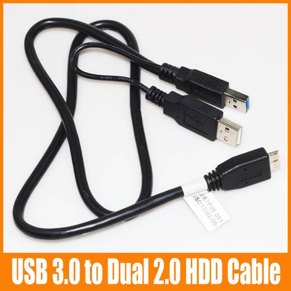 Micro USB 3.0 Mâle à Double Micro USB HDD Câble Power Extension Y Câble Pour Disque Dur HDD PC Ordinateur Portable 100pcs