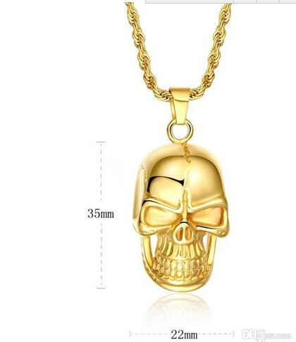 Fast Free Shipping Fine Wholesale - New Swiss precision steel Skull pendant 18K gold filled necklace Seiko quality Never change color