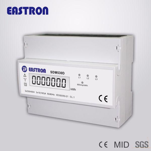 Toptan-SDM530D Üç Fazlı Dört Tel Din Raylı Enerji Ölçer, KWH dijital enerji ölçer, LCD Disply ve Darbe Çıkışı ile, CE onaylı