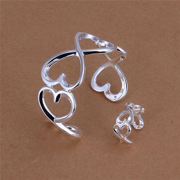 top popular Factory price 925 sterling silver plated heart-shaped bangles & Rings Fashion Jewelry Set Valentine's Day gift free shipping 2020