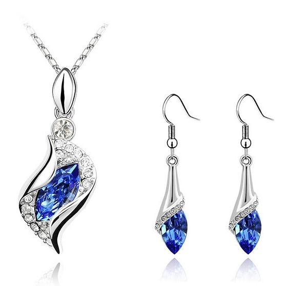 Fashion jewelry sets 18K White Gold Plated Lake Blue CZ Crystal Necklace Earrings jewelry set