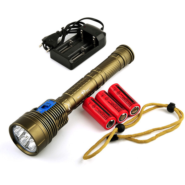 Skyray DX7 Plus Diving Flashlight 7x CREE XM-L L2 14000 Lumens 150m Underwater Scuba Diver Lanterna Torch + battery+ Charger