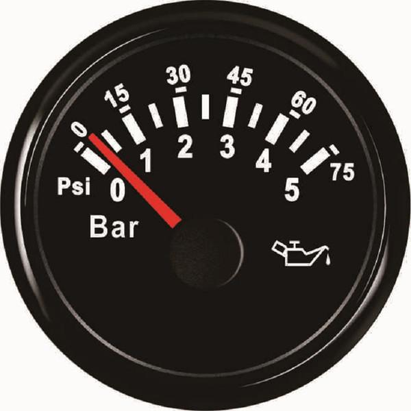 Nuevo 52mm Universal Auto Car Fuel Oil Medidor de Presión Medidor 0-5bar 0-75Psi 12V 24V con luz de fondo