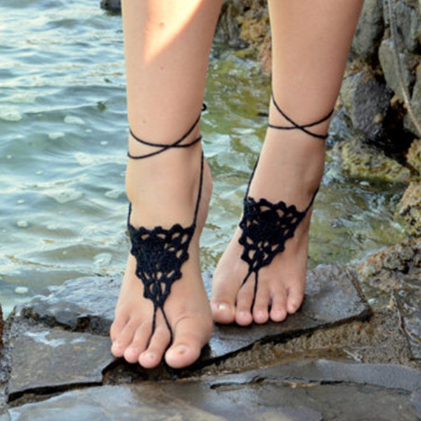 Crochet Barefoot Sandals,Grecian design - BLACK - Crochet Sandals, Sexy Foot Anklet, Toe Ring, Yoga, Foot Thongs, Nude Shoes, Lace Sandles