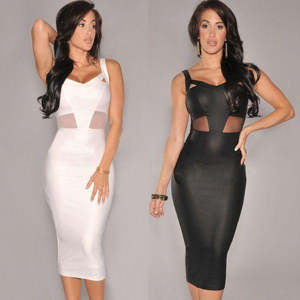 Women Sexy Dress Mesh Cutout V Neckline Sleeveless Bandage Dress ...