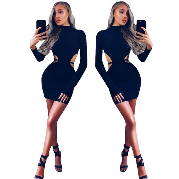 fe2188add709 Women Sexy Clubwear Casual Dresses 2018 Christmas Party Bandage Bodycon  Mini Dresses Hollow Autumn Winter Long