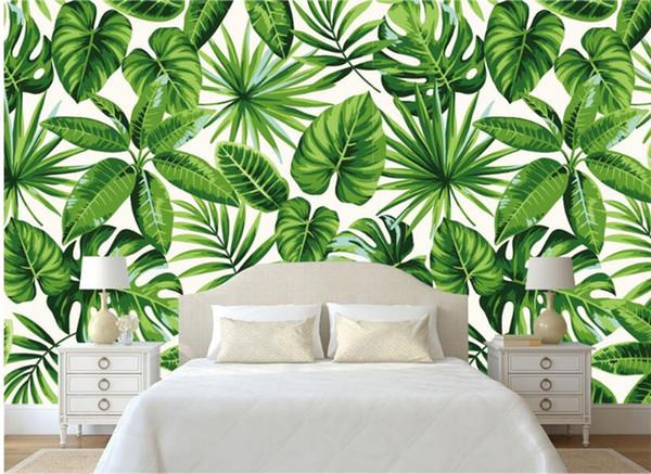 top popular Modern Classic Simple Fresh Rainforest Plant Banana Leaf Pastoral Wall paper Background Wall papel de parede wallpaper 2019