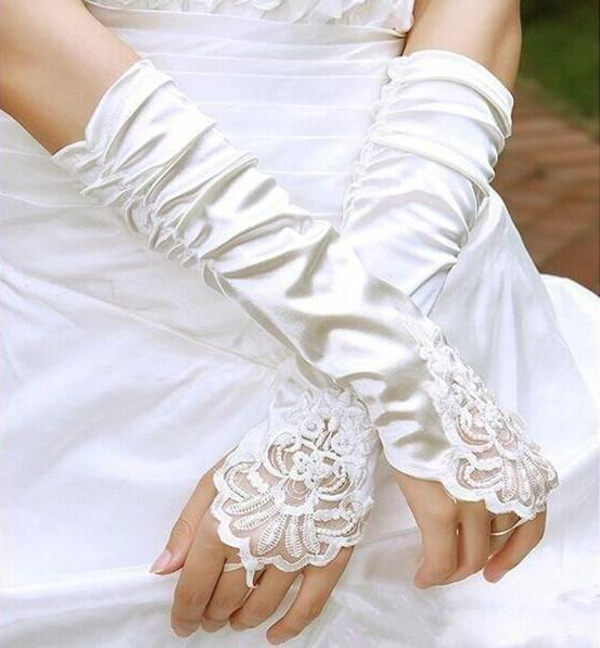 Fashion Below Elbow Length Fingerless Bridal Wedding Gloves Applique Beaded Ruched Banquet Party Women White/Ivory Gloves