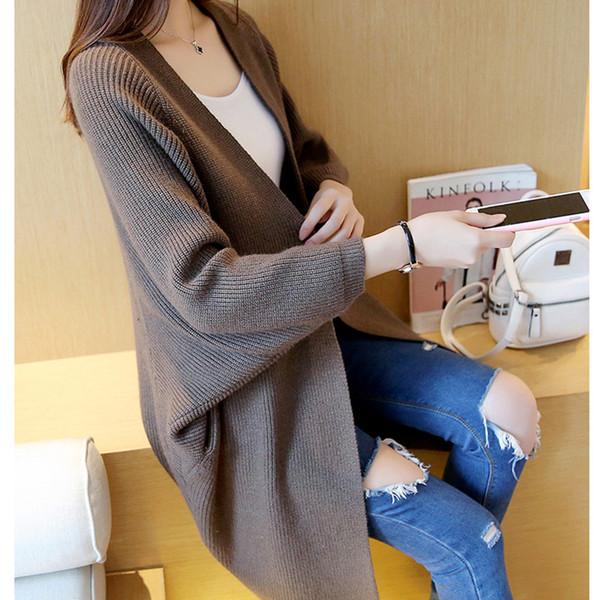 Wholesale- 2017 Korea outfit loose over size long knitting cardigan coat pocket sweater women poncho pull femme sobretudo feminino hlrka
