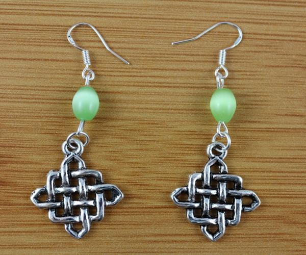 925 Sterling Silvers Earrings Vintage Silvers Chinese Knot & Opal Bead Dangle Chandelier Earrings For Women Fashion Jewelry 10 Pair P1888