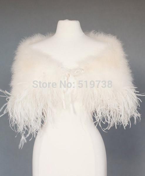 best selling Ostrich Feather Wedding Jackets Bridal Shrug Shawl Wrap Marabou Feather Cape with Ostrich Boa Trim Prom Wedding Accessories