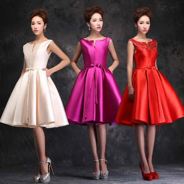 2015 Korean Style Red Violet Mini Party Dresses Sleeveless A Line With Pocket Short Satin Casual