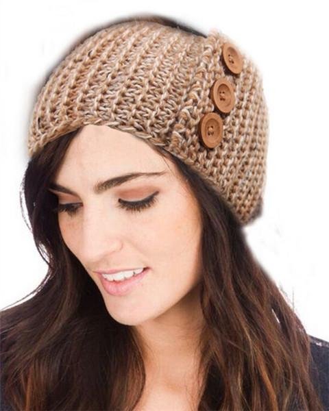 Botón de diseño de punto Headband Head Crochet Head Wrap Hairbands Envío gratuito