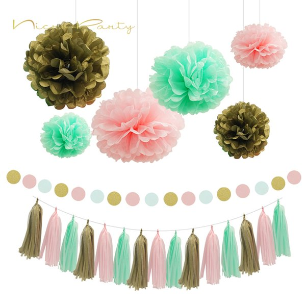 Nicro Mint Green Summer Party Set Pom Pom Tissue Paper Tassel Wall Hanging For Summer/Beach Party Decorations 11Pc Set wholesale