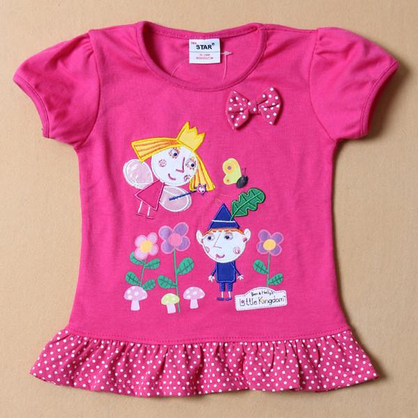 2015 1PC Vêtements Enfants Ben et Holly's Little Kingdom Filles T-shirts Impression de Bande Dessinée Manches Courtes Enfants d'été