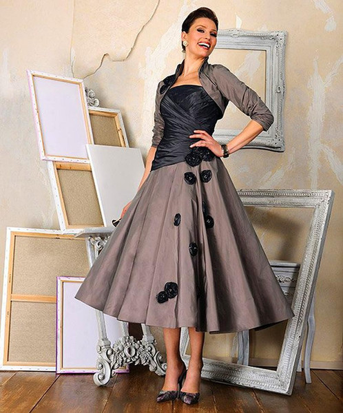 2016 Vintage Mother of the Bride Dress with Wrap Women Wedding Evening Gowns 3/4 Sleeves Mid Calf Lady Mother Bride Groom Gown