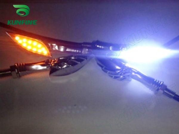 New 4X Motorcycle 12 LED Turn Signal Indicators Lights Blue/Amber yellow Light Universal 12V Free shipping KF-V3001