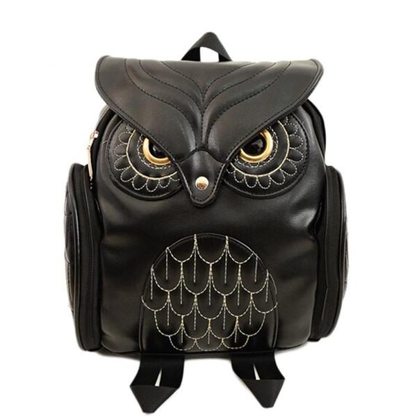Lady Fashion Women Backpack Newest Stylish Cool Black PU Leather Owl Backpack Female Hot Sale Women shoulder bag school bags
