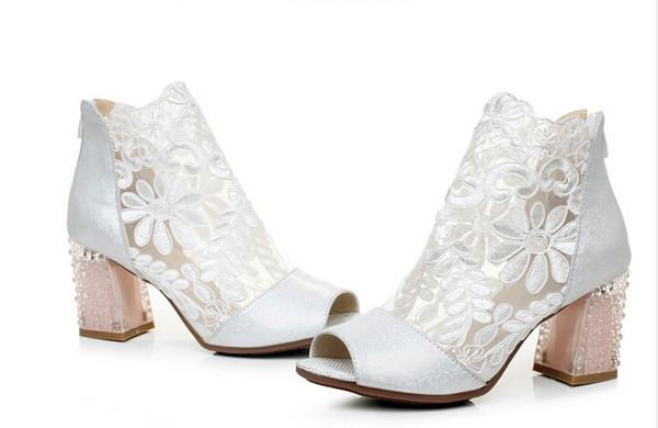 Femmes exquises Gauze Peep Toe Forme Chaussures De Mariage Chunky À Talons Cristal En Cuir Sandale Botte D'été Avec Belle Dentelle Taille US 4-11