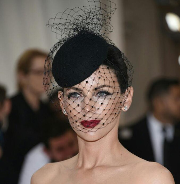 top popular 2018 New Hottest Vintage Hats Perfect Birdcage Headpiece White Black Bridal Net Hat Wedding Bird Cage Veils 2019