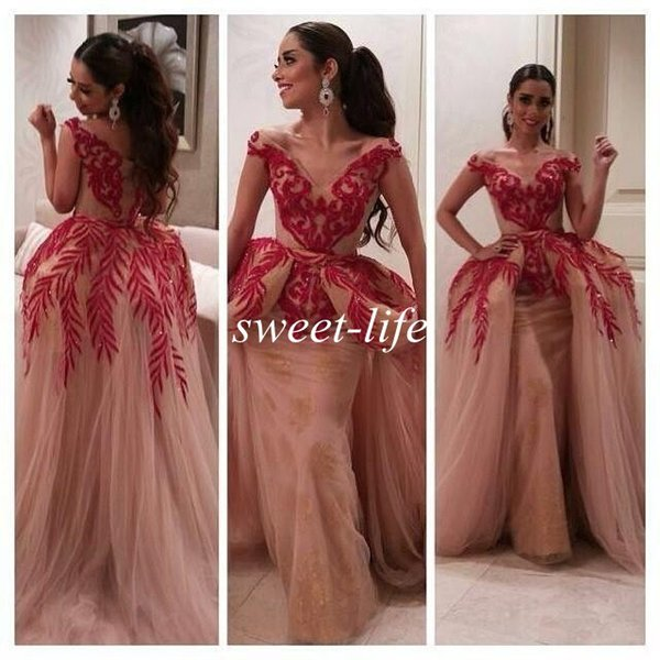 Myriam Fares Dresses 2015 Celebrity Gowns Ball Gown Short Sleeve V Neck Red Lace Sequin Nude Tulle Women Arabic Prom Formal Evening Dresses