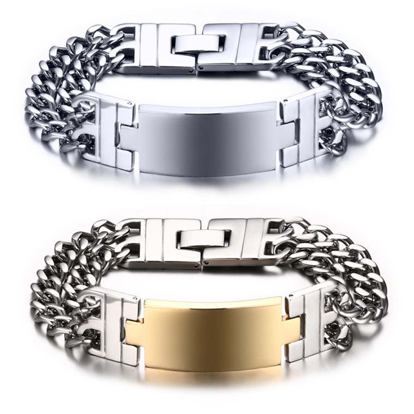 Free Engraving Men's Large Heavy Wide Stainless Steel ID Cuban Link Chain Bracelet 8.7""