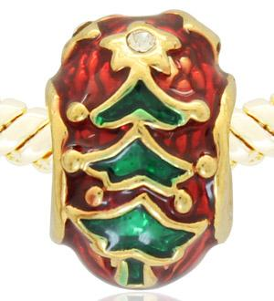 Merry Christmas star guiding tree bead Faberge egg charm with hand enamel gold plating Fits Pandora Bracelet