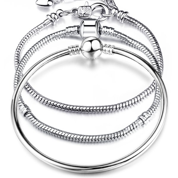 best selling New Hot Sells 8 Style 925 Silver LOVE Snake Chain Bracelet & Bangle 17CM-21CM Pulseras Lobster for Beads