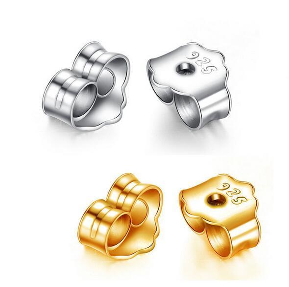 best selling 925 sterling silver earplug Golden rose gold Earrings Back Earrings Stopper have 925 logo free shopping