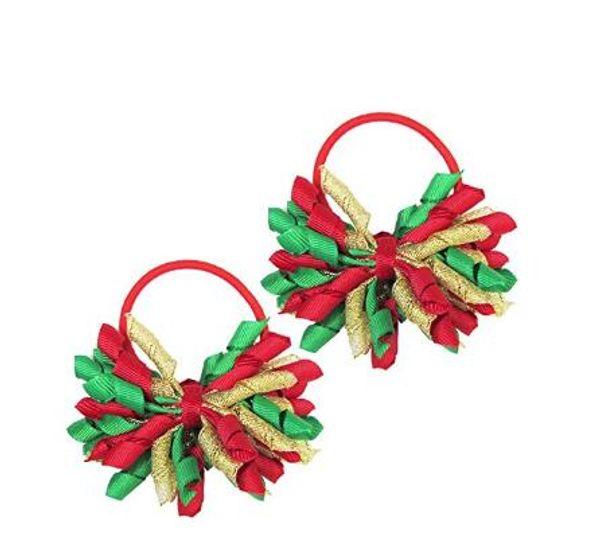 "christmas hair tie 20pcs 3.5"" korker ponytail holders streamer corker hair bows clip Cheer Bows Curly Ribbon Bow hair bobbles"