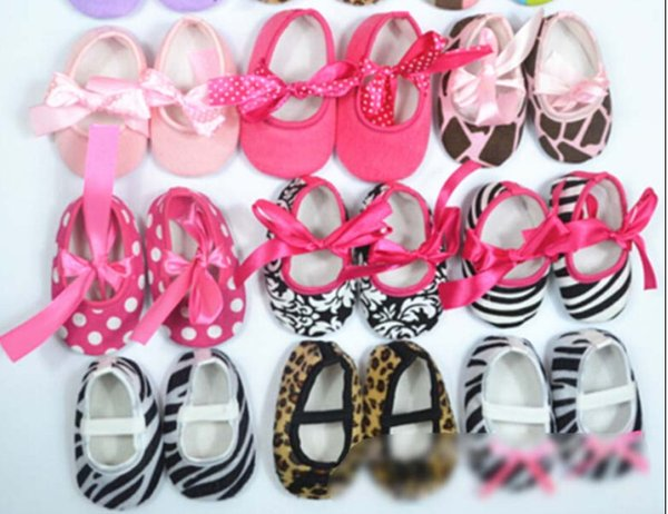 Inventories low price 100 pairs/lot Baby Boys Girls soft cotton Babies Non-slip toddler shoes bow Shoes Leopard Printed baby toddler shoes