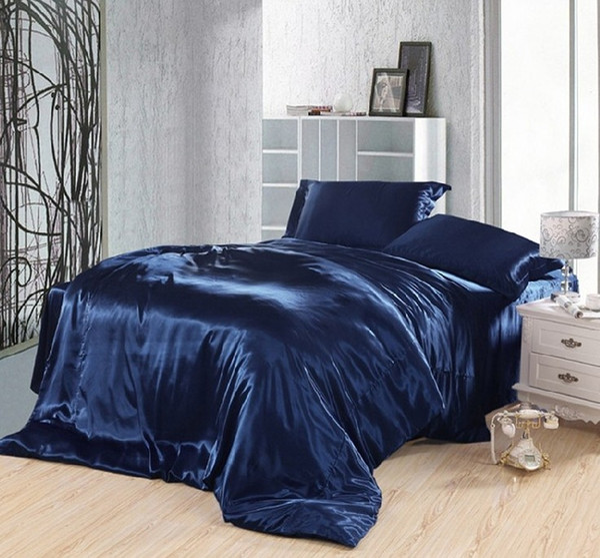 Dark blue bedding set silk satin super king size queen double fitted bed sheets duvet cover quilt bedspreads doona bedsheet 5pcs