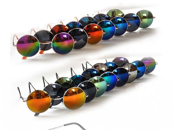 top popular 18Colors 2016 Hot Sell New Women Retro Round Alloy Frame Sunglasses Brand Designer Women Round Fashion Mirrored Sunglasses Coating Lens 2019