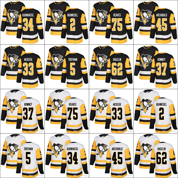 2018 Season Pittsburgh Penguins 37 Carter Rowney 45 Josh Archibald 62 Carl Hagelin 75 Ryan Reaves jersey black white