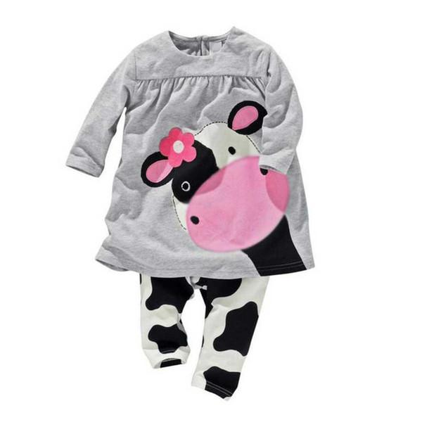 Outono Inverno Roupas de Bebê Meninas Definir O pescoço Leite Vaca Impressão de Manga Longa Camisas de Vaca Tops Roupa Dos Miúdos set Meninos Menina Ternos