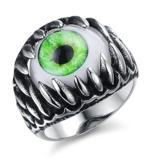 Mens Stainless Steel Gothic Dragon Claw Devil Green Eye Biker Punk Rock Ring Opal Personalized Band