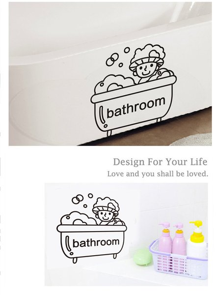 Bathroom Words Decoration Sticker DIY Home Decor Art Mural Poster Sticker Kids Bathing Room Decoration Decal