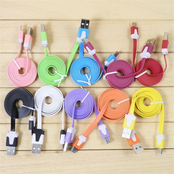 3FT 6FT 10FT Micro USB Charger Cable Flat For Samsung Galaxy S5 S4 S6 Note 2 4 HTC LG Noodle Charging Data Sync Cords Colorful 1M 2M 3M