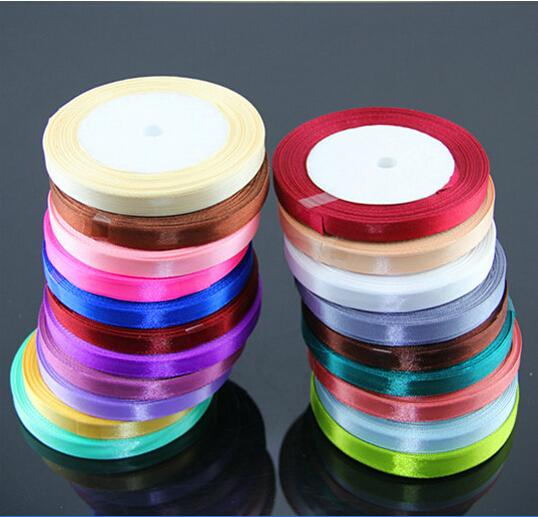 15% off hot sale 25Roll/lot 25yards/ROLL 22M*1CM Single Face Satin Ribbon Candy Box Packaging gift packing belt wedding decoration