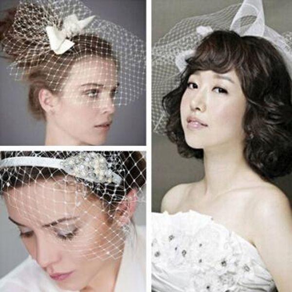 2015 New White Wedding Dress Bridal Headwear DIY Net Yarn Veil With Pearl Diamond Wedding Hair Accessories 6 styles in stock