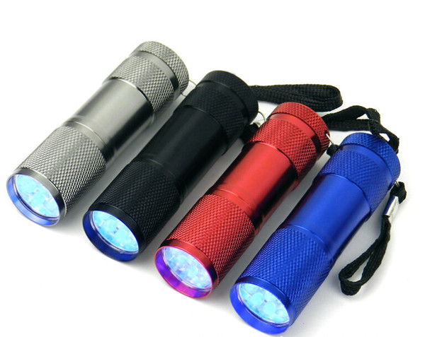 Aluminium 9LED Flashlight UV Ultra Violet Mini Portable Flashlight Torch Light Lamp Silver free shipping
