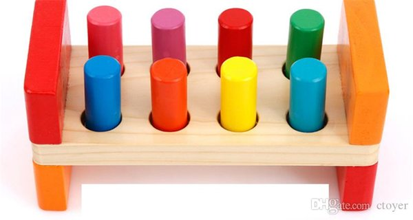 Children puzzle, Wooden Percussion strike wooden toys, knock on the toy pole, hit the hamster Wooden Percussion kid toy gift