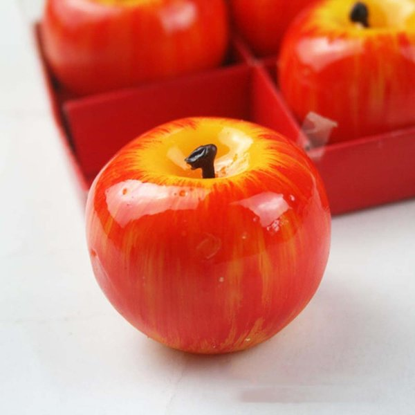 4pcs/SET Top Selling Christmas Red Apple Shape Fruit Scented Candle Home Decoration Gift L025