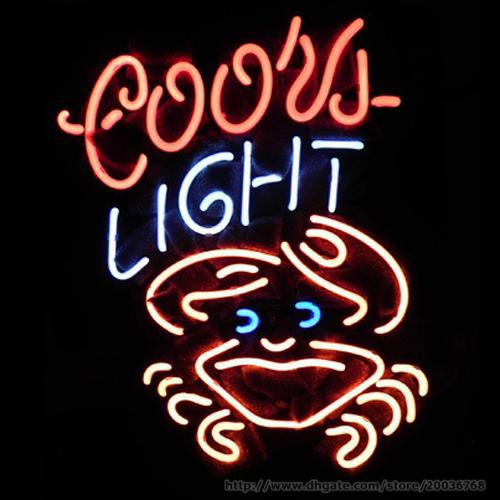 """Coors Light Crab Beer Bar Neon Sign Store KTV Club Hotel Restaurant Commercial Custom Handmade Real Glass Tube Display Neon Signs 15""""X19"""""""