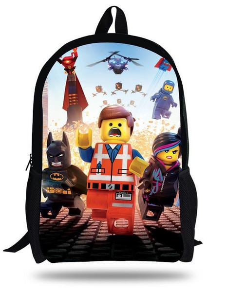 16-Inch Lego Mochilas Little Boy School bag Aged 7-13 Cool Lego Batman Backpacks Online Cartoon Style.