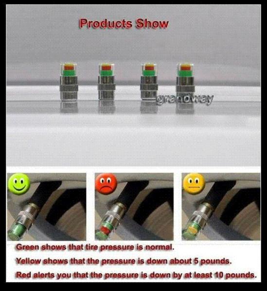 Freies verschiffen Neue auto Reifendruckkontrolle Ventilkappe Sensor Anzeige 3 Farbe Augen Alarm M46888