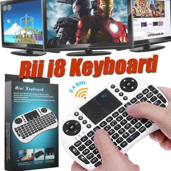 Tastiera wireless Mini Rii i8 2.4G Tastiera inglese mouse aereo Telecomando multimediale multi-touch per Smart TV Box Android HTPC MXQ Pro M8S