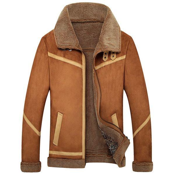 New Men Suede Leather Jackets Winter Fur Coats Vintage Camel / Coffee Man Wool Outerwear Warm Fleece Lining Plus Size M-4XL