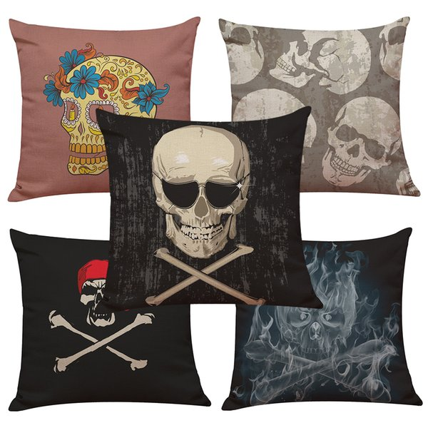 Novelty Skull Linen Cushion Cover Home Office Sofa Square Pillow Case Decorative Cushion Covers Pillowcases Without Insert(18*18Inch)